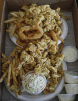 Fried seafood on plates
