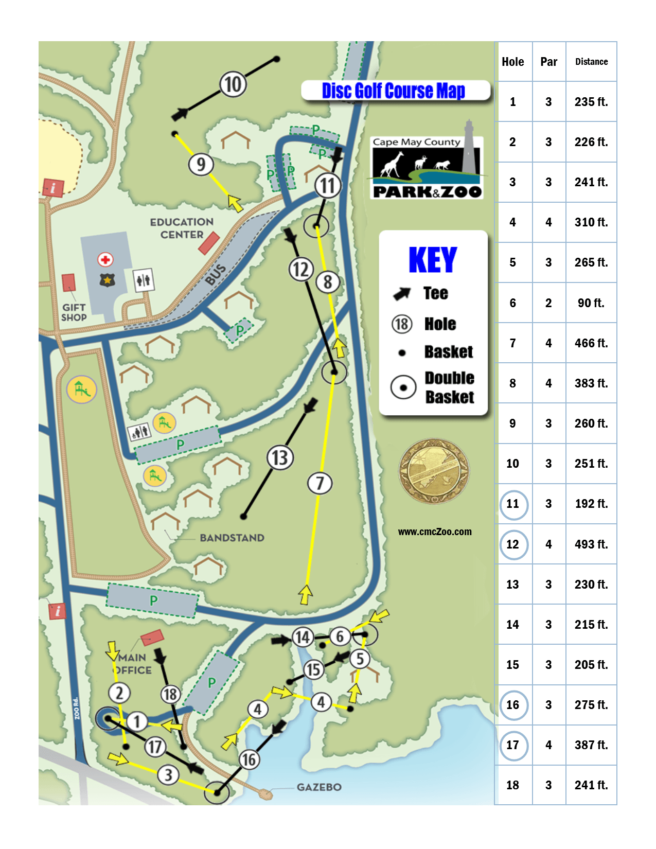 Disc Golf Course Map 2019