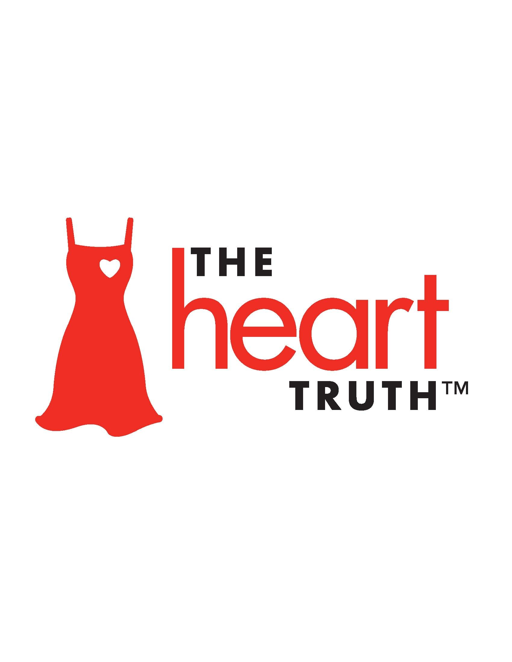 The Heart Truth Logo with a red dress on it